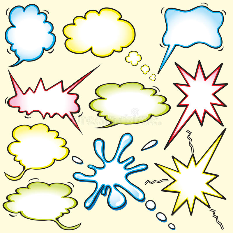 Farbiges Comic-Buch spornte Gedankenluftblasen an stock abbildung