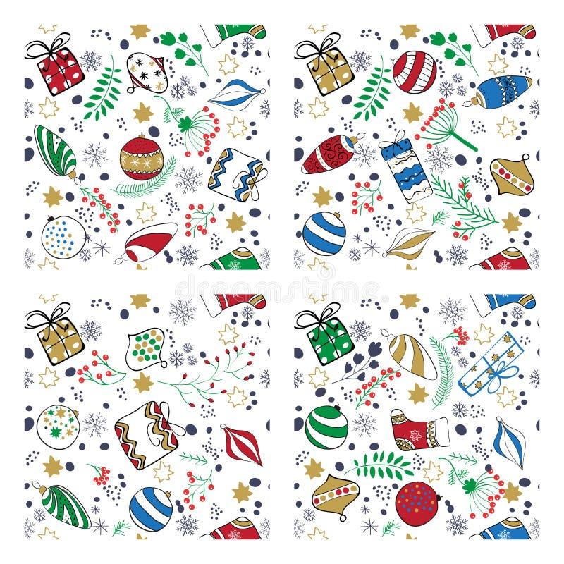 Farbiges handdrown Weihnachten spielt nahtlosen Musterhintergrund vektor abbildung