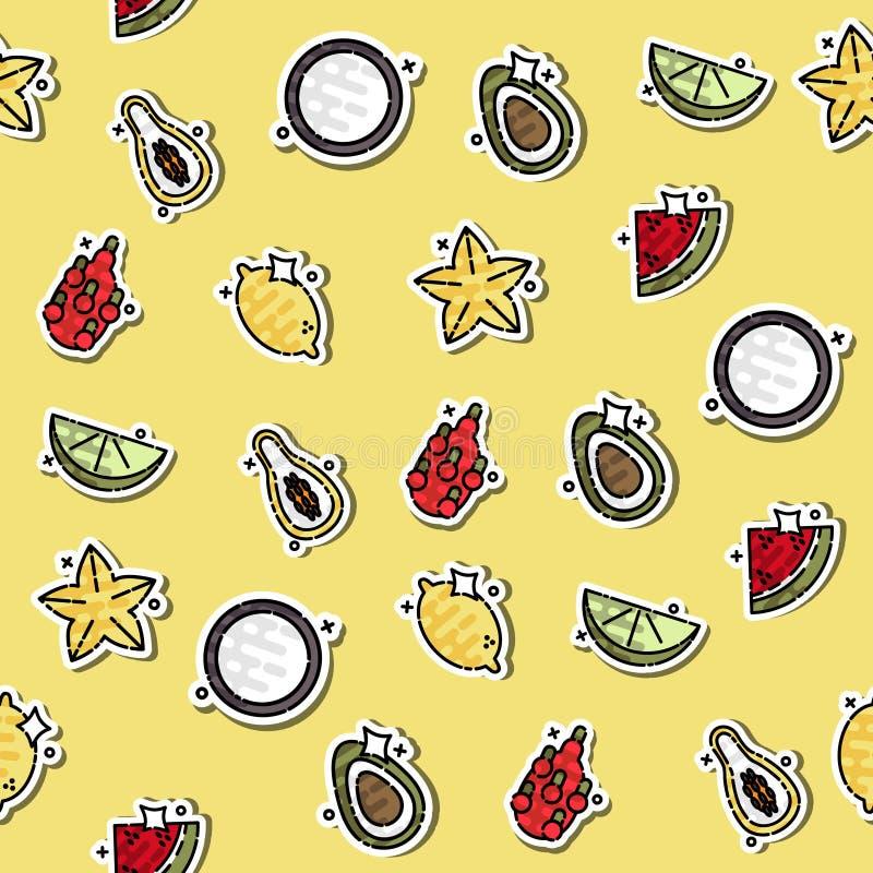 Farbiges Konzeptikonenmuster der tropischen Frucht stock abbildung