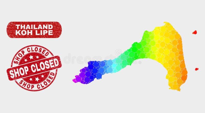 Farbiges Mosaik Koh Lipe Map und Schmutz-Geschäft schlossen Wasserzeichen stock abbildung