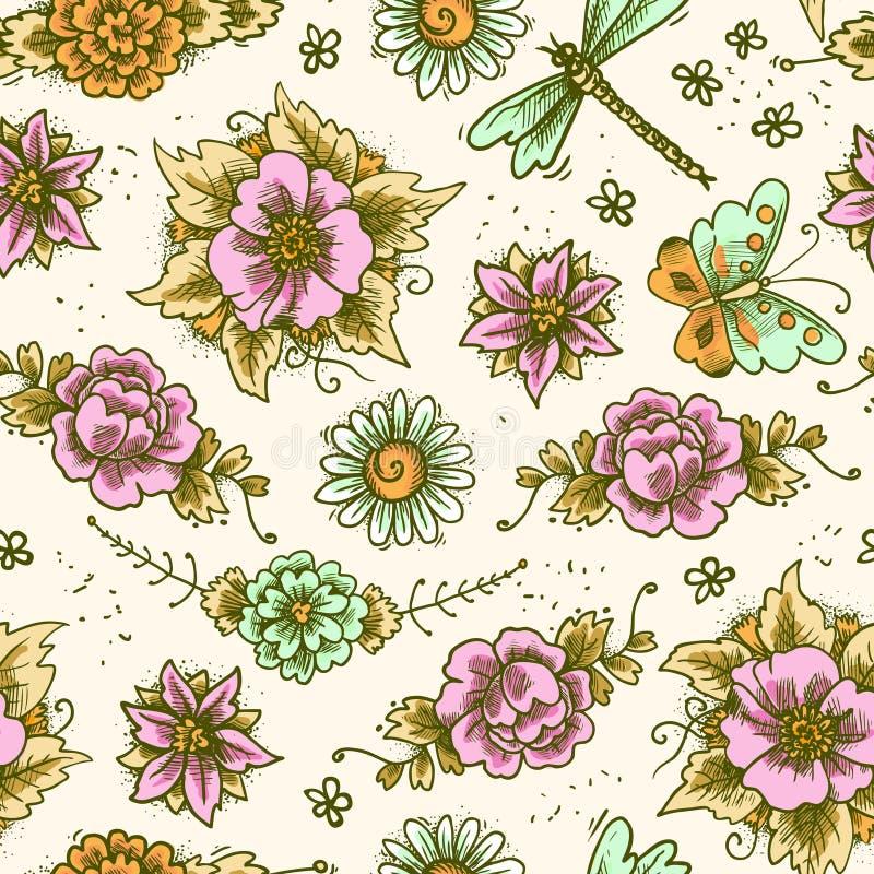Farbiges nahtloses Blumenmuster der Weinlese lizenzfreie abbildung