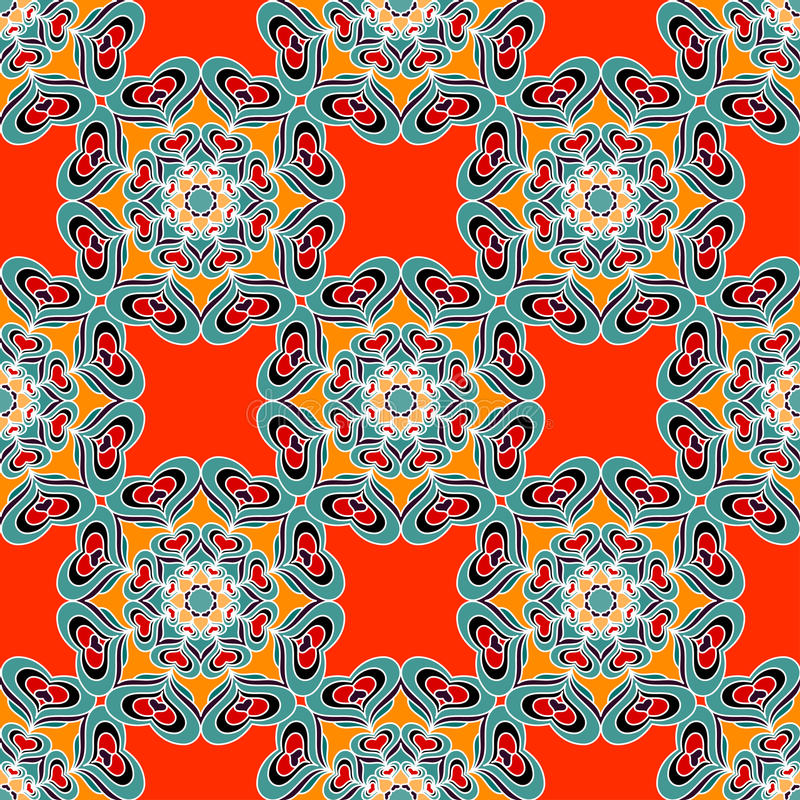 Farbiges nahtloses Muster Blumenverzierung des hohen Details Auch im corel abgehobenen Betrag vektor abbildung