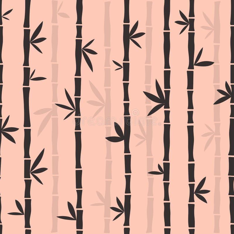 Farbiges nahtloses Muster: grauer Bambus auf rosa Hintergrund Vektor stock abbildung