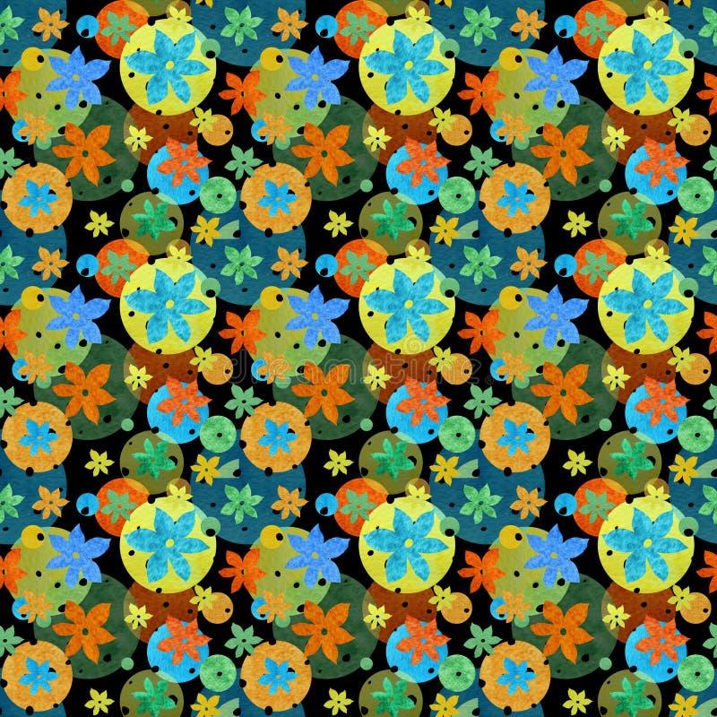 Farbiges nahtloses Muster mit Blumen und Kreisen stock abbildung