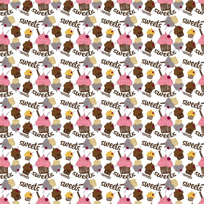 Farbiges nahtloses Muster mit buntem Frucht und Schokolade cupca vektor abbildung