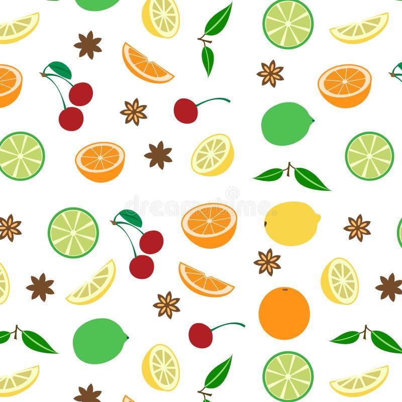 Farbiges nahtloses Muster mit Früchten, Vektor lizenzfreie abbildung