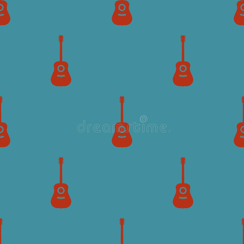 Farbiges nahtloses Muster mit Gitarren auf einer blauen Hintergrundvektorillustration lizenzfreie abbildung