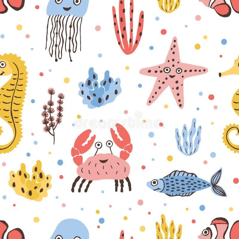 Farbiges nahtloses Muster mit glücklichen See- und Ozeantieren auf weißem Hintergrund - Fisch, Krabbe, Qualle, Starfish vektor abbildung