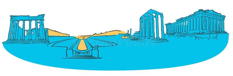 Farbiges Panorama Athens Griechenland lizenzfreie abbildung