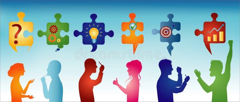 Farbiges Profilleutegestikulieren Puzzlespielstücke mit Lösen- von Problemensymbolen Gesch?ftsl?sung KonzeptLösen- von Problement vektor abbildung