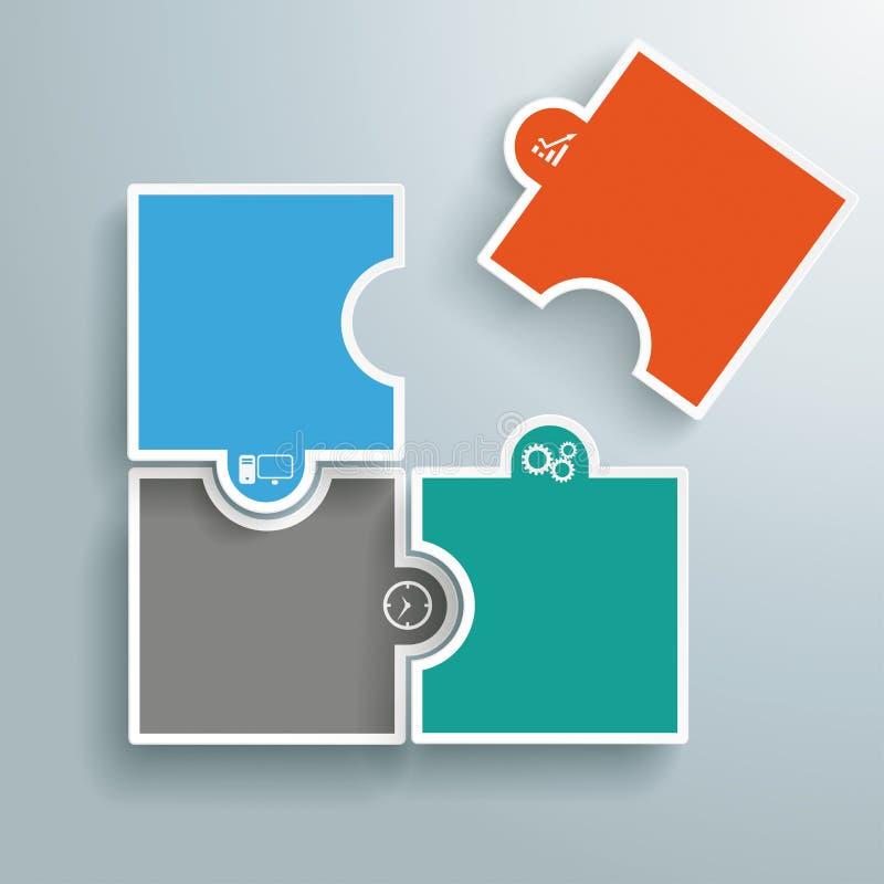 Farbiges Puzzlespiel-Bereich-Letzt-Stück stock abbildung