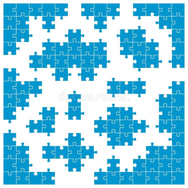 Farbiges Puzzlespiel - Sitzecken und Einzelteile stock abbildung
