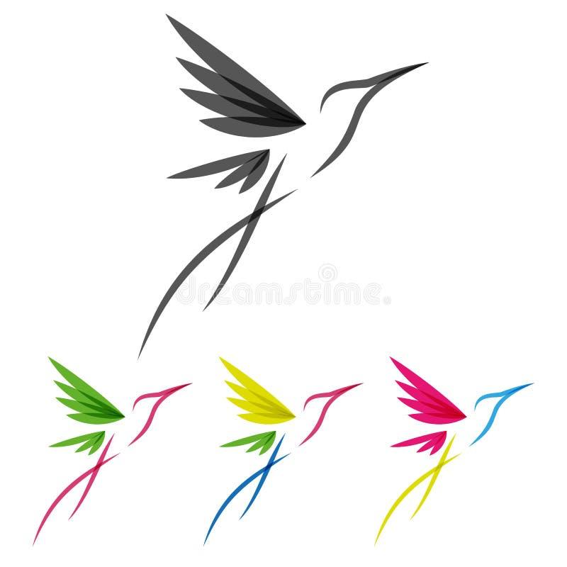 Farbiges stilisiertes colibri lizenzfreie abbildung