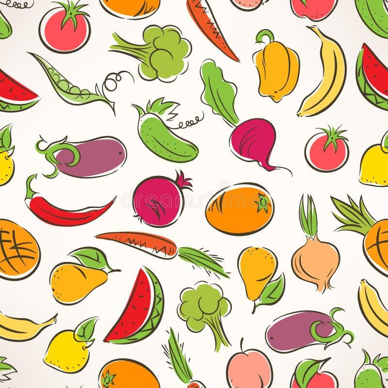 Farbiges Stilisiertes Obst Und Gemüse Vektor Abbildung ...