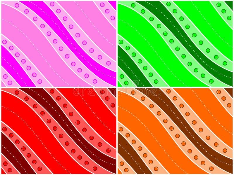 Farbiges Wellen-Hintergrund-Set stock abbildung