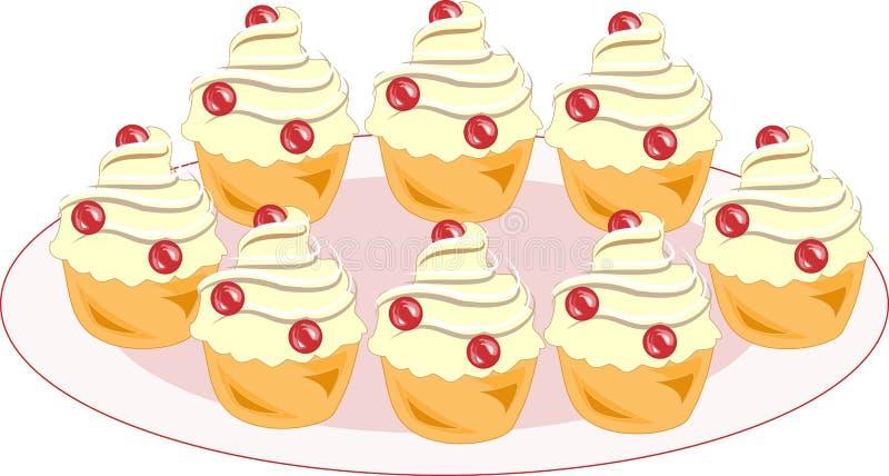 Farbikone mit einer Platte von geschmackvollen Muffins Ein Plätzchen mit einer Sahnefüllung verziert jede festliche Tabelle Ein K lizenzfreie stockfotografie