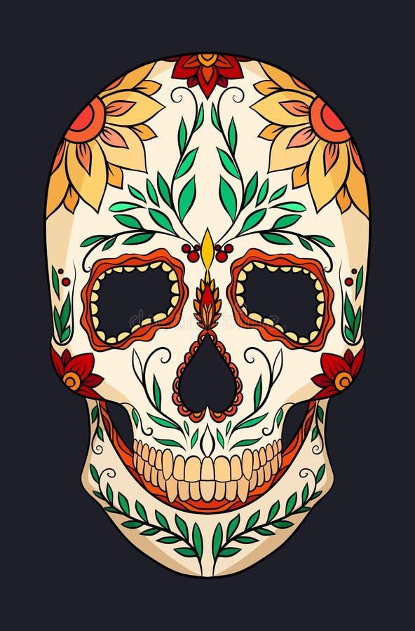 Farbillustration eines Zuckerschädels Das Fest des Tages der Toten vektor abbildung