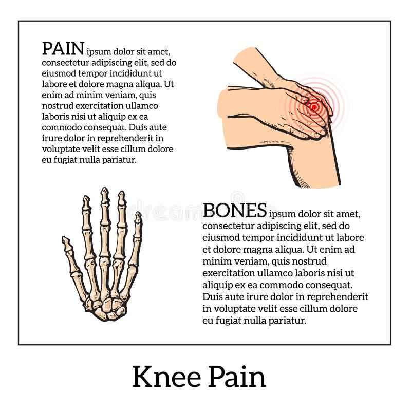 Farbillustration von Knieschmerz Hände, die Bein halten lizenzfreie abbildung
