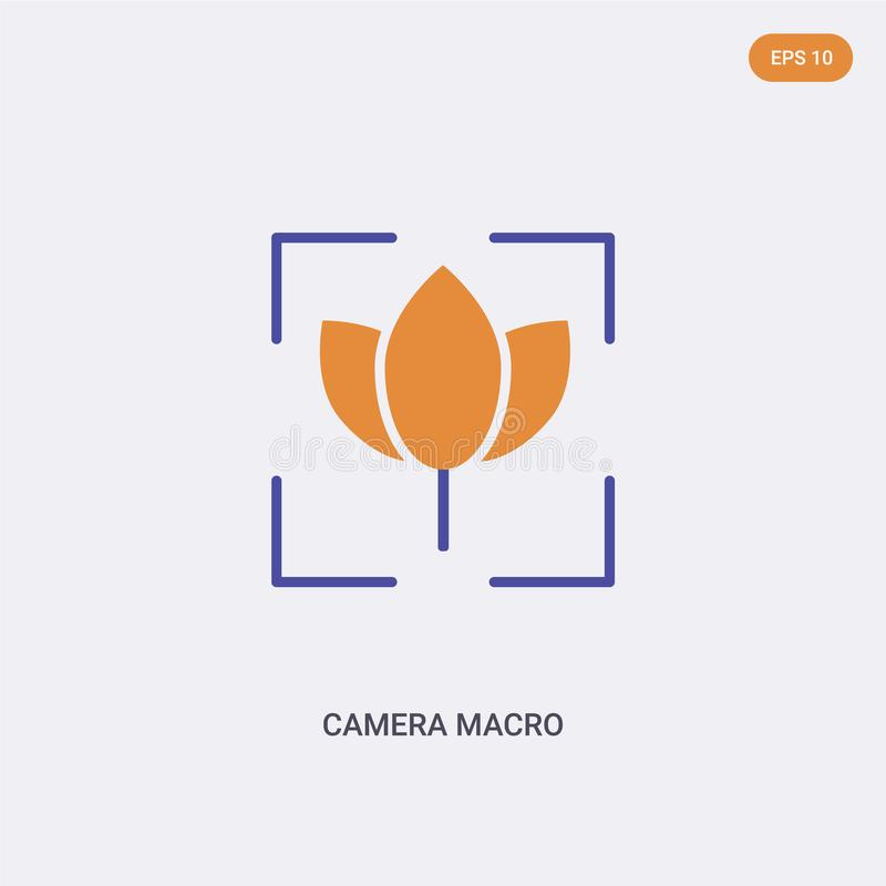 2 Farbkamera-Makrokonzept-Vektorsymbol isoliertes Symbol für zwei Farben Makro-Vektorzeichen der Kamera, mit Blau- und Orangetöne lizenzfreie abbildung