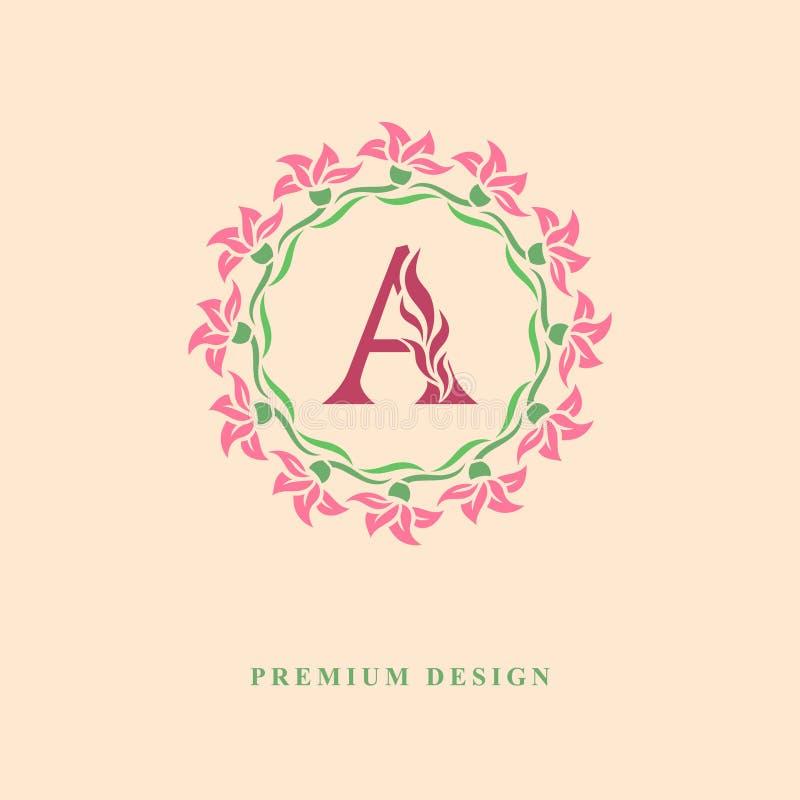 Farbkranz von Blumen Würdevolle Schablone des Monogrammentwurfs Kalligraphische elegante Linie Kunstlogodesign Großbuchstabeemble stock abbildung