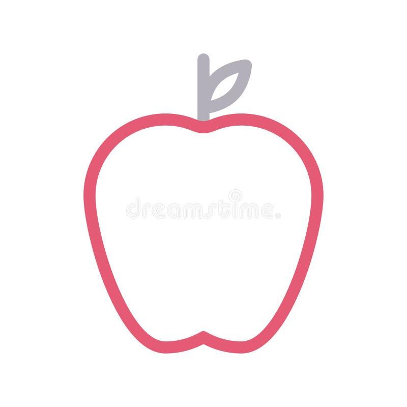 Farblinie-Vektorikone Apples d?nne stock abbildung