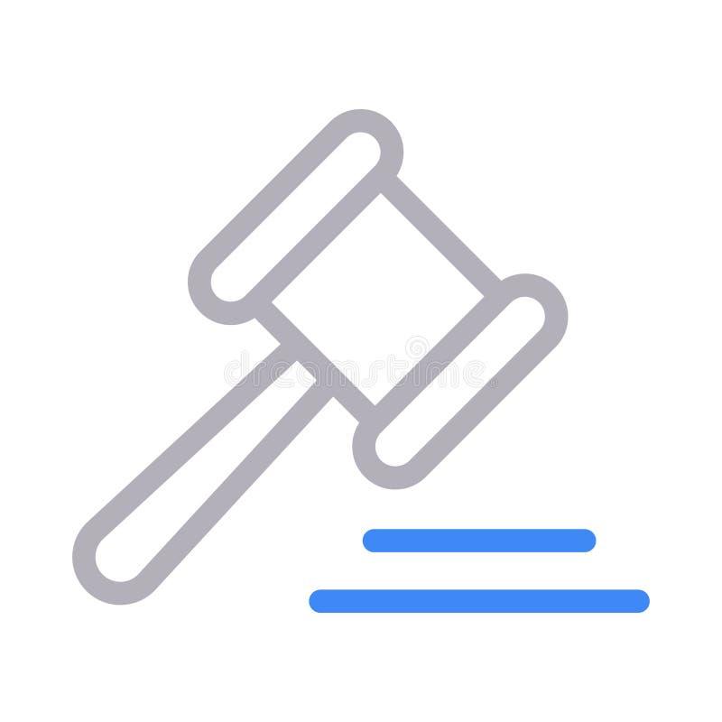 Farblinie-Vektorikone der Auktion dünne stock abbildung
