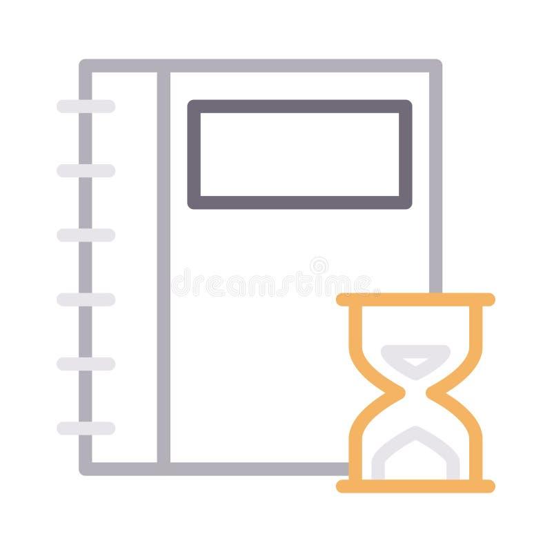 Farblinie-Vektorikone der Notizbuchfrist dünne vektor abbildung
