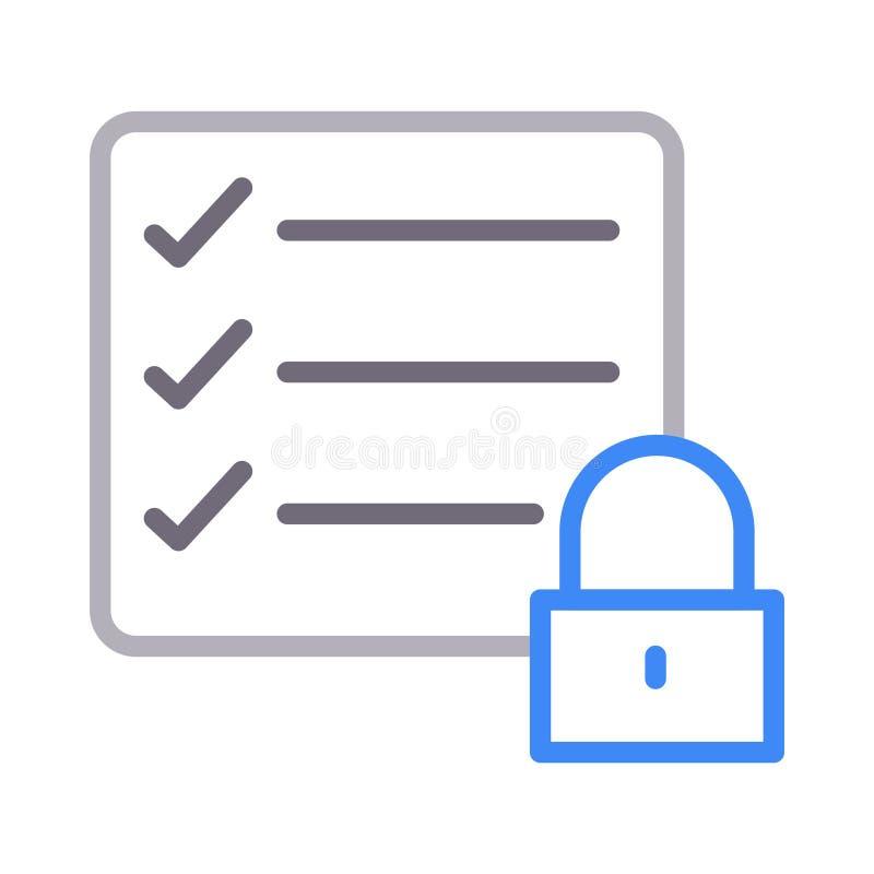 Farblinie-Vektorikone der sicheren Checkliste dünne lizenzfreie abbildung