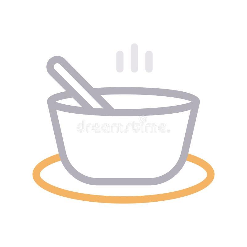 Farblinie-Vektorikone der Suppensch?ssel d?nne stock abbildung