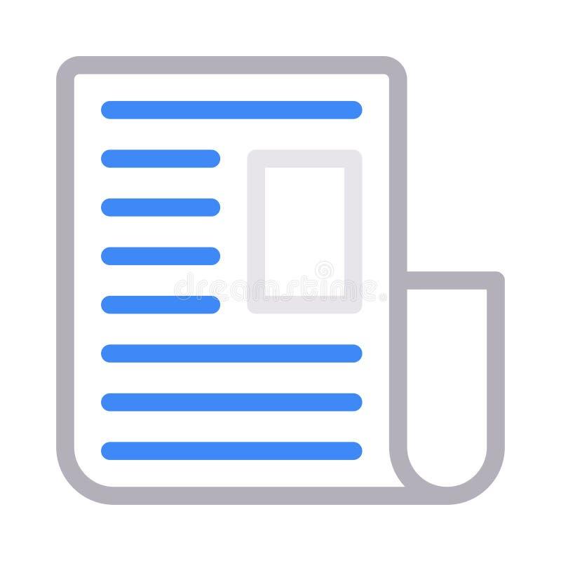 Farblinie-Vektorikone der Zeitung dünne stock abbildung