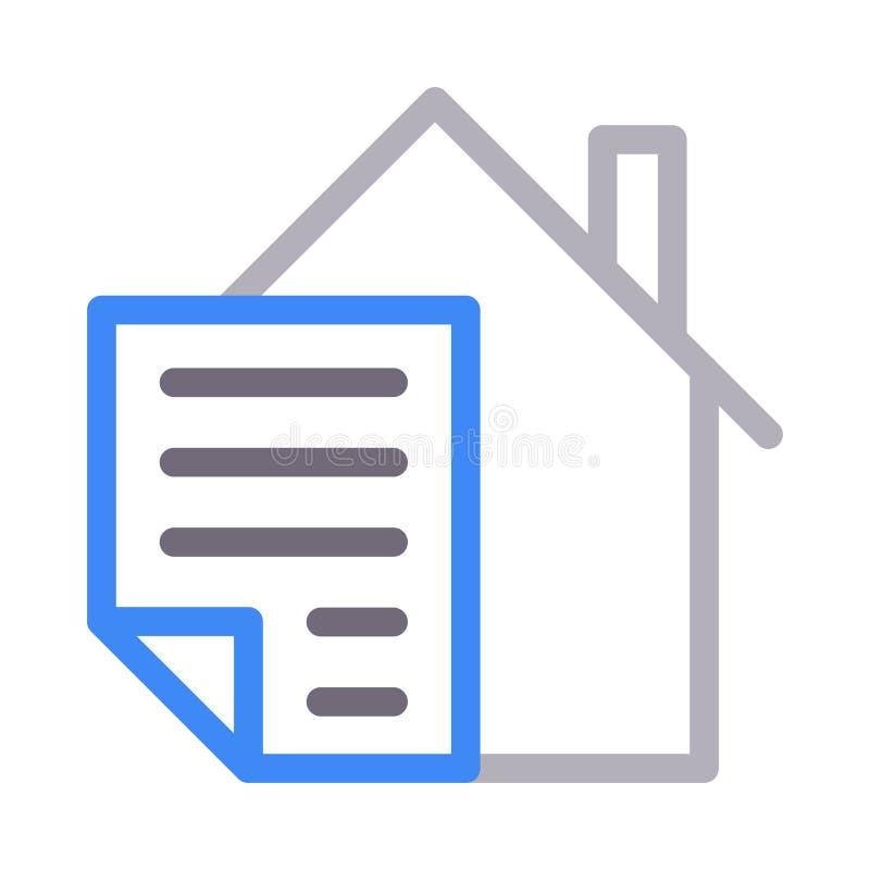 Farblinie-Vektorikone des Hausdokuments dünne lizenzfreie abbildung