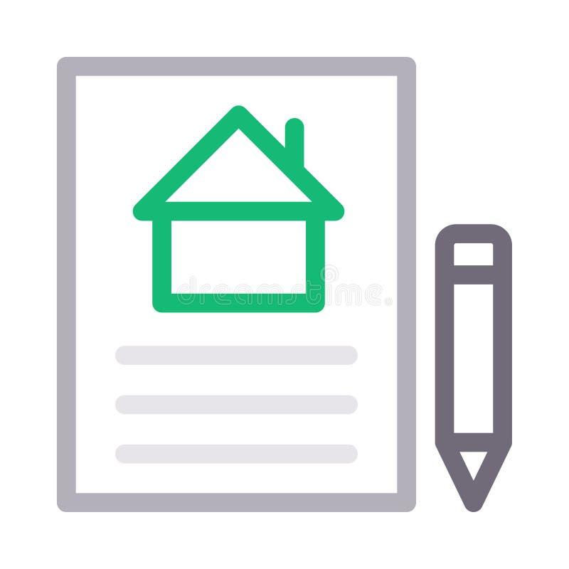 Farblinie-Vektorikone des Hausdokuments d?nne vektor abbildung