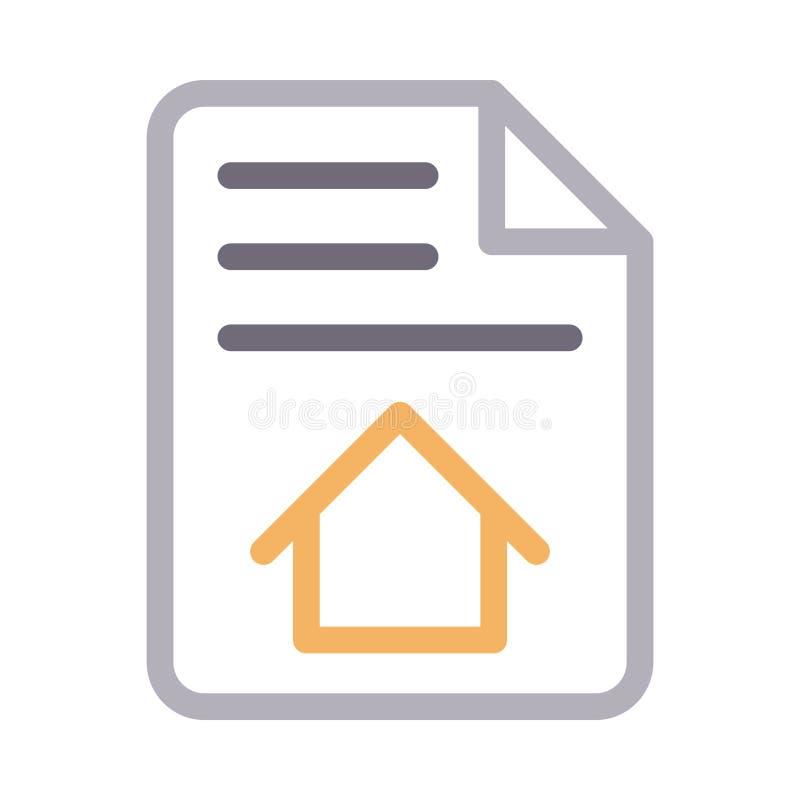 Farblinie-Vektorikone des Hausdokuments d?nne stock abbildung