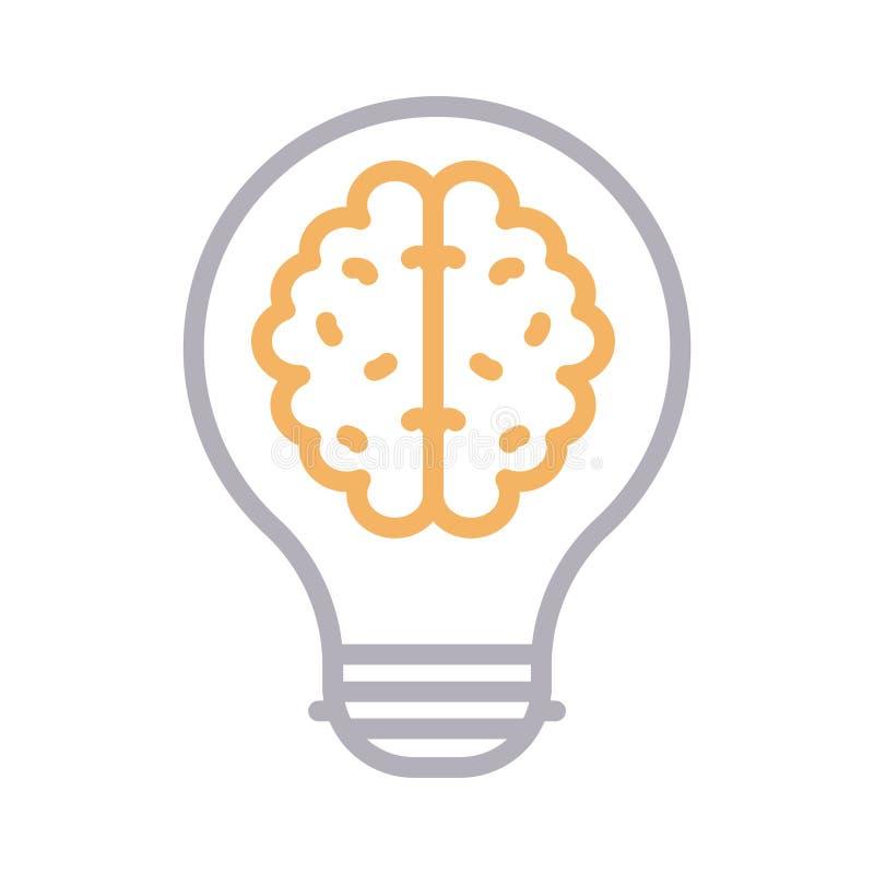 Farblinie-Vektorikone des kreativen Gehirns dünne vektor abbildung