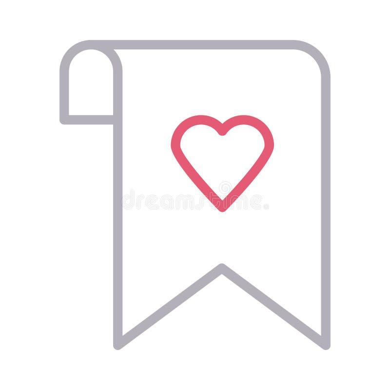 Farblinie-Vektorikone des Lieblingsbookmarkumbaus dünne lizenzfreie abbildung