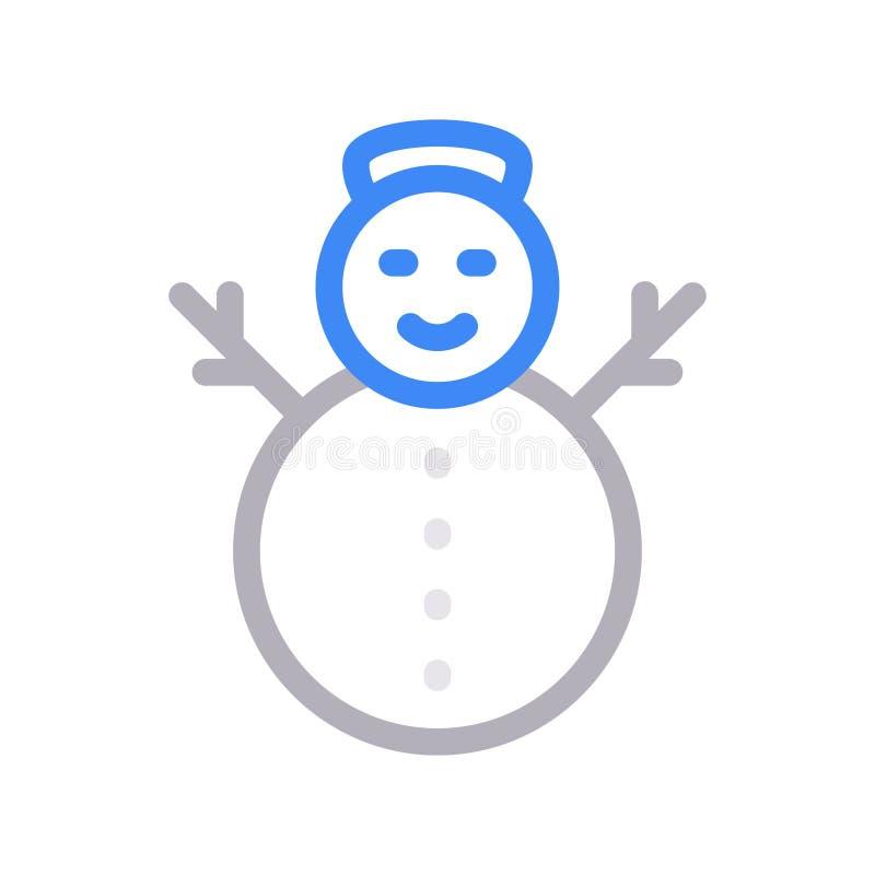 Farblinie-Vektorikone des Schneemannes dünne lizenzfreie abbildung