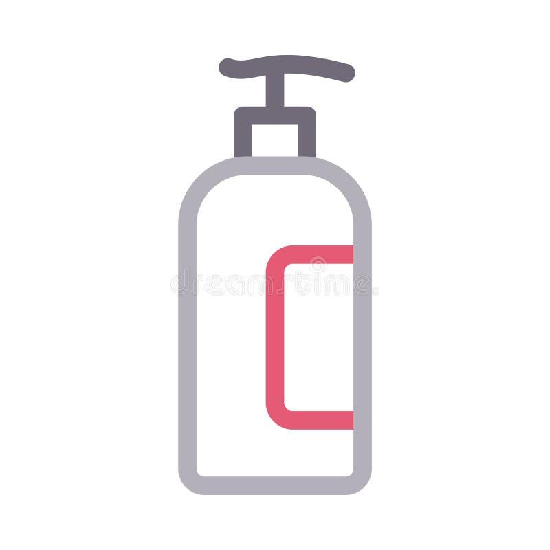 Farblinie-Vektorikone des Shampoos dünne lizenzfreie abbildung