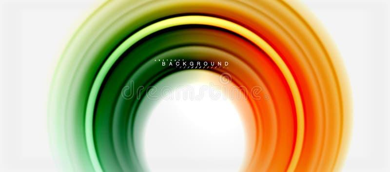 Farblinie-Zusammenfassungshintergrund des Regenbogens flüssiger - Strudel und Kreise, verdrehte flüssige Farben entwerfen, bunter stock abbildung