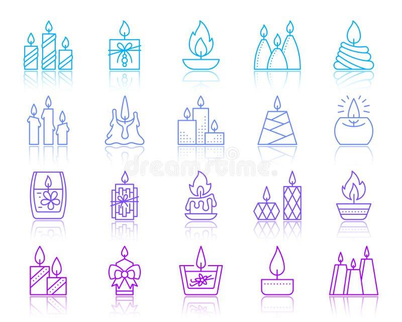 Farblinieikonen-Vektorsatz der Kerzenflamme einfacher vektor abbildung