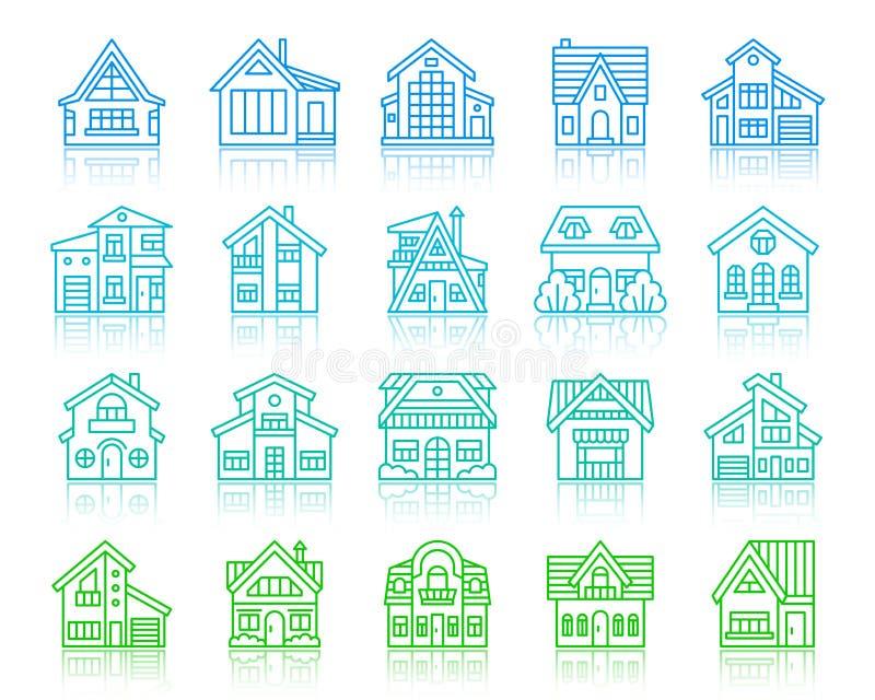 Farblinieikonen-Vektorsatz des Haushäuschens einfacher lizenzfreie abbildung