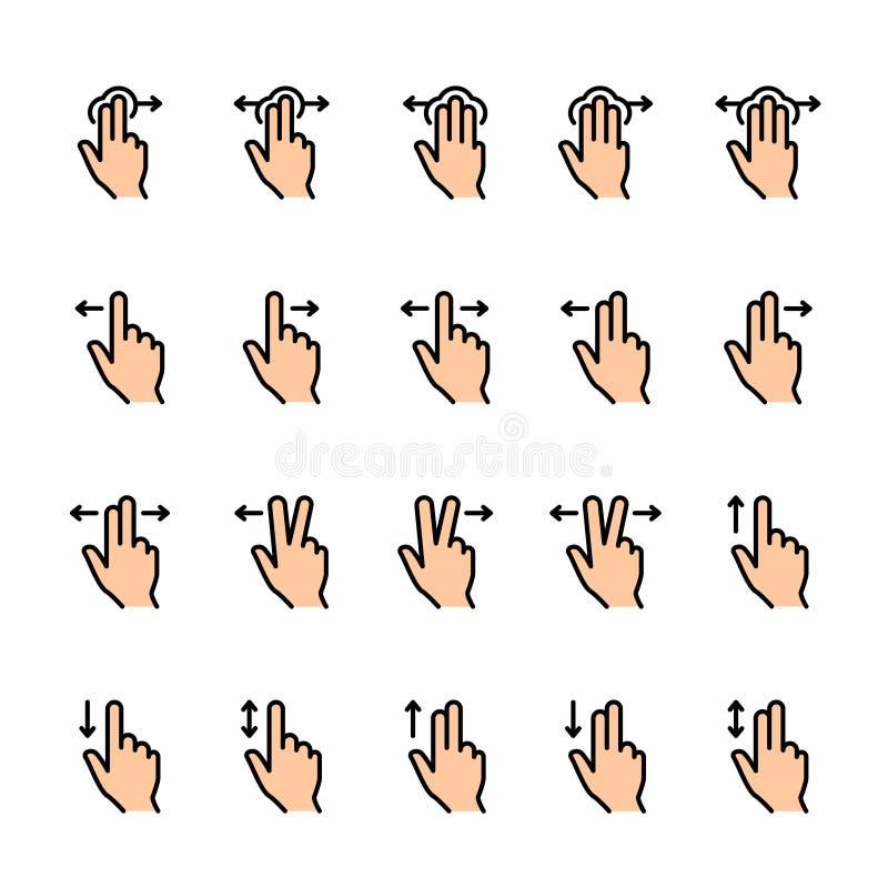 Farblinieikonensatz Noten-Gesten vektor abbildung