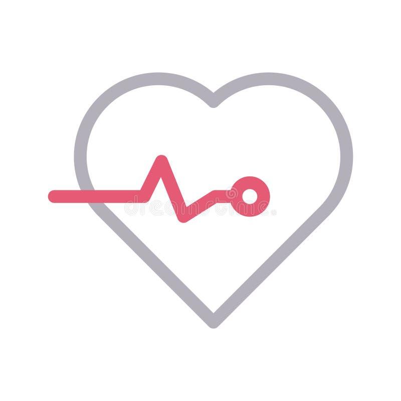 Farblinievektorikone des Herzschlages dünne vektor abbildung