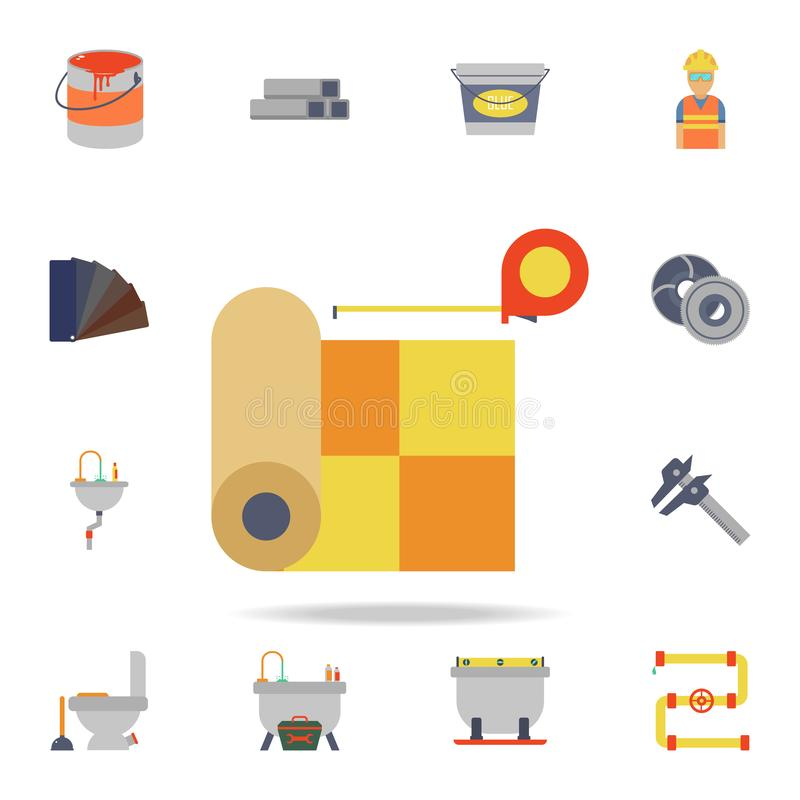 Farblinoleum und Maßband Ikone Ausführlicher Satz Farbbauwerkzeuge Erstklassiges Grafikdesign Ein der Sammlung vektor abbildung