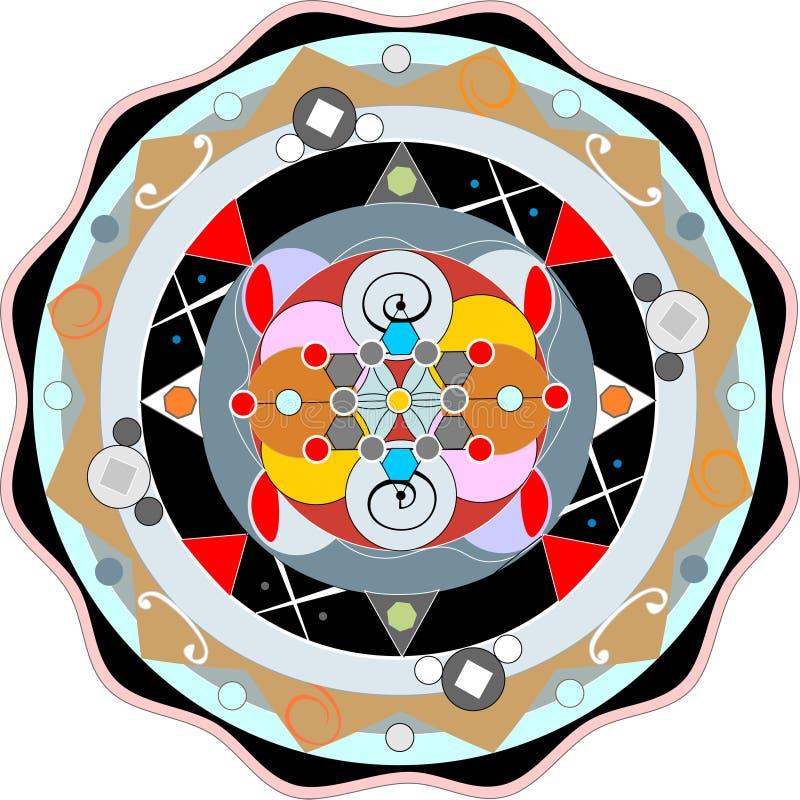 Farbmandalasymbol durch die Ostreligionen stock abbildung