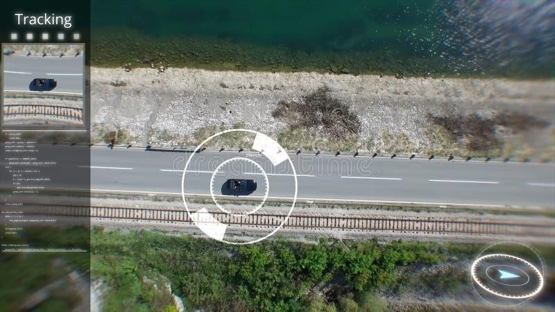 Farbmischanzeige Digital von ariel Ziel über der Stadt Spion UAV über städtischen Zonenuhren des Autos vom Satelliten lizenzfreie stockfotografie