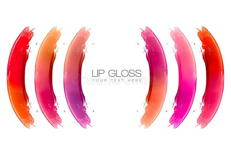 Farbmuster des Lipglosses lizenzfreie abbildung