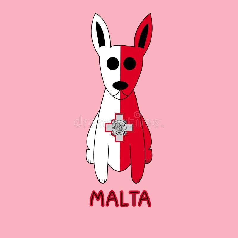 Farbnachahmung von Malta-Flagge mit Pharao-Jagdhund, Nationaltier stock abbildung