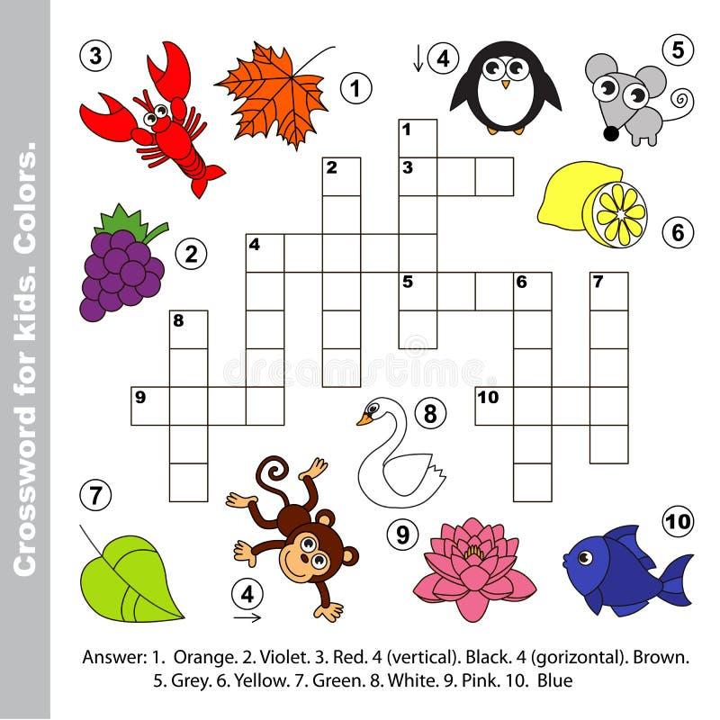 Farbnamen Kreuzworträtsel für Kinder lizenzfreie abbildung