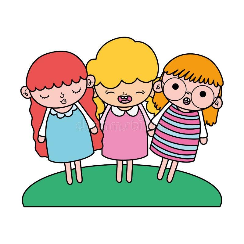 Farbnette Mädchenkinder mit netter Frisur lizenzfreie abbildung