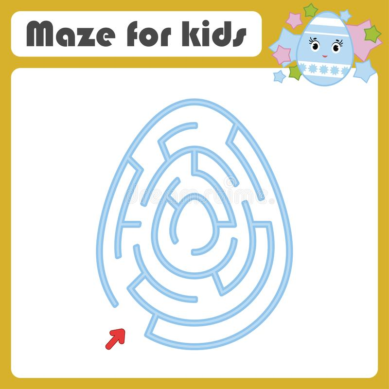 Farbovales Labyrinth Scherzt Arbeitsblätter Tätigkeitsseite Spielpuzzlespiel für Kinder Nettes Ei, Ostern, Feiertag Labyrinthvexi lizenzfreie abbildung